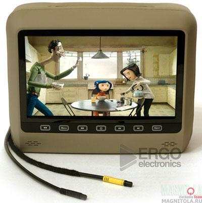 Монитор с DVD-проигрывателем, встроенный в подголовник Ergo Electronics ER9HD beige
