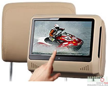 Съемный подголовник с монитором Envix L0277 выполнен из материалов высокого качества и отделан отличной искусственной кожей бежевого цвета. Модель оснащена сенсорным экраном диагональю 9 дюймов и разрешением 800*480 пикселей. Яркость, контрастность и цвет изображения экрана можно настроить в соответствии со своими предпочтениями